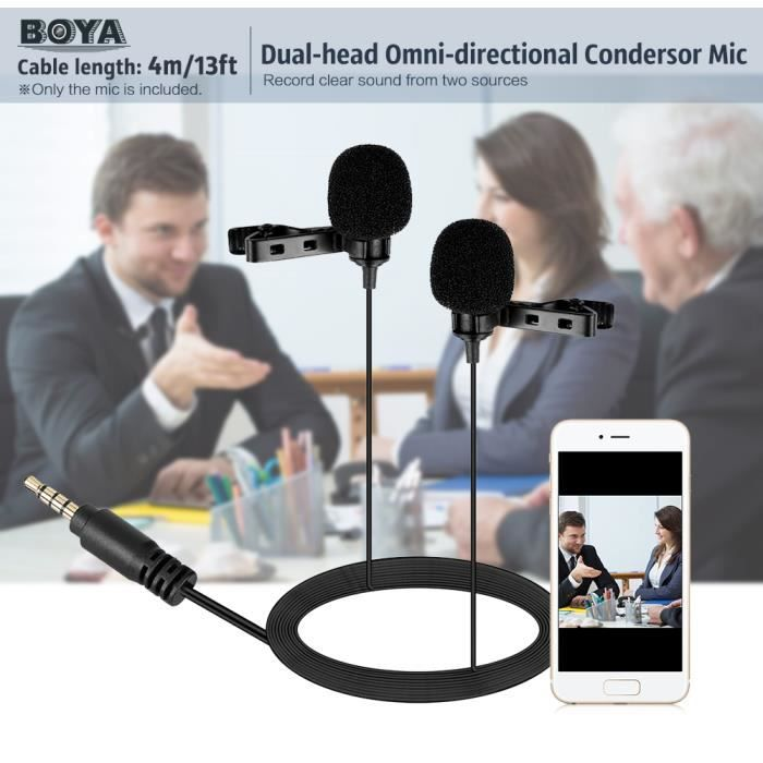 Boya By-lm400 Double-tête Lavalier Microphone Condensateur Omnidirectionnel Mic Pour Android Iphone