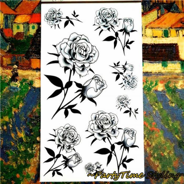 Rose Tatouage Temporaire Ephemere Realiste Dessin Crayon Noir