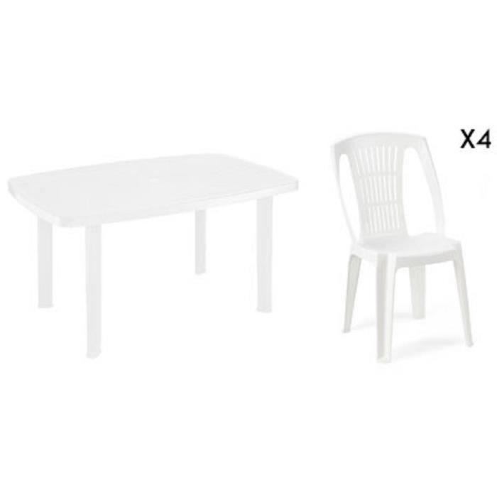 Table rectangulaire blanche + 4 chaises jardin plastique blanc ...