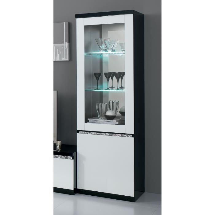 vitrine noir et blanc laqu avec clairage led en option. Black Bedroom Furniture Sets. Home Design Ideas