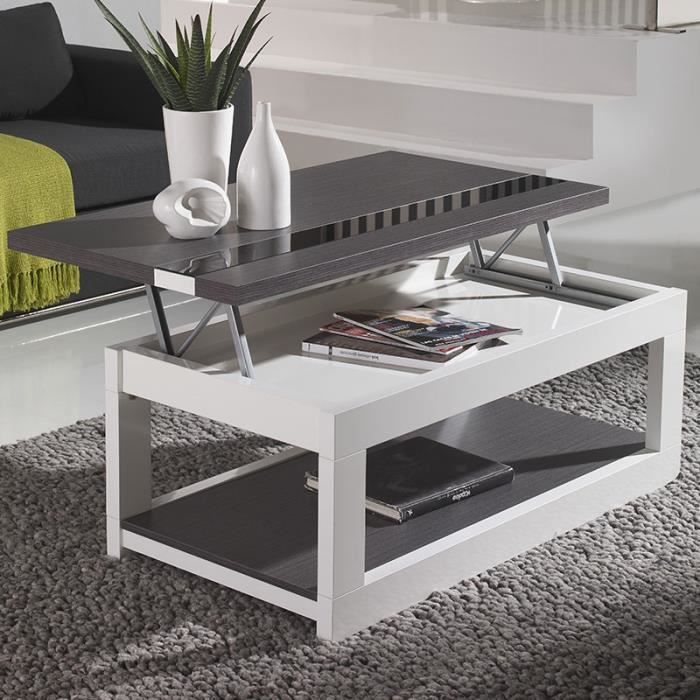 Table Basse Relevable Moderne Blanche Et Grise Montreal Achat