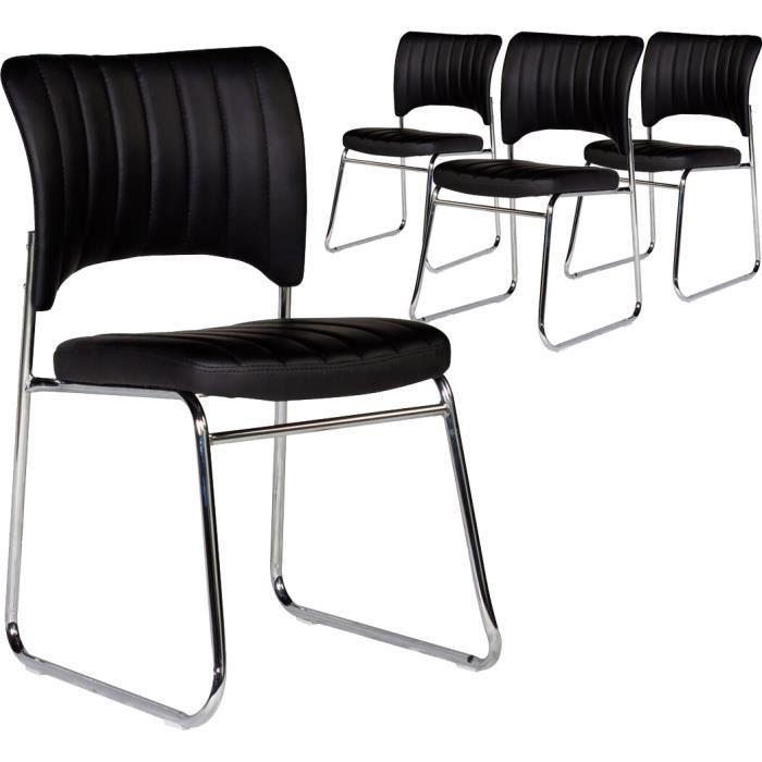 CHAISE Lot De 4 Chaises Moderne En Pvc Noir Et Pieds A