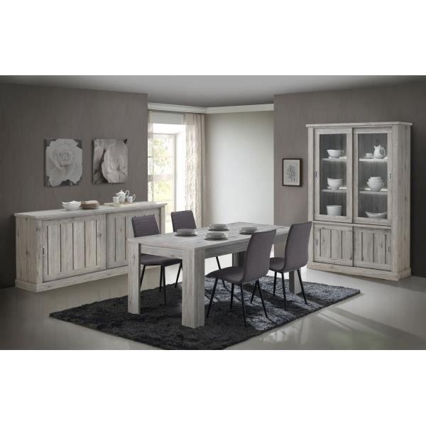 Salle à Manger Complète Contemporaine YVAN   Table : Allongeable L 170/220  X 100   Chêne Rustique Eclairage Argentier Inclus Chêne
