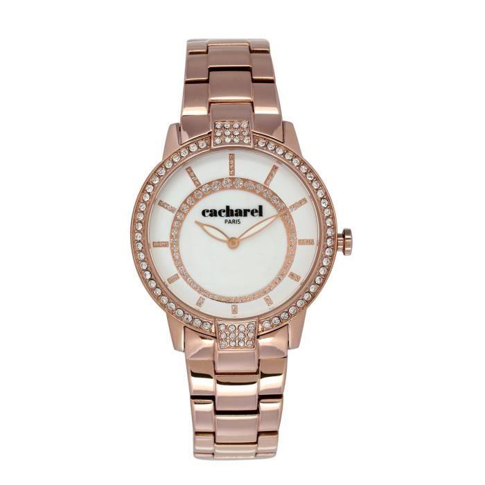 66fb633486 Cacharel - CLD 009S-2BM - Montre Femme - Quartz Analogique - Cadran Blanc -  Bracelet Acier plaqué Rose