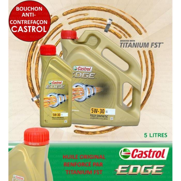 5 LITRES CASTROL EDGE 5W30 LL TITANIUM FST ACEA C3 VW 504 00 - VW 507 00
