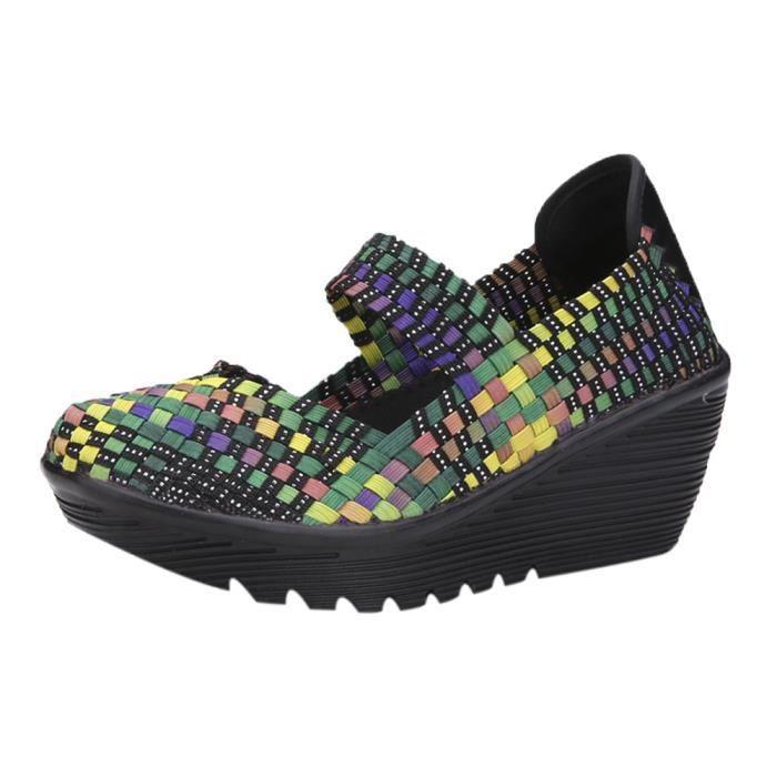 De Sneaker Casual Weave Rocking Chaussures Flats Mode Femmes Multicolore Course Pour 0wSqx0HtX