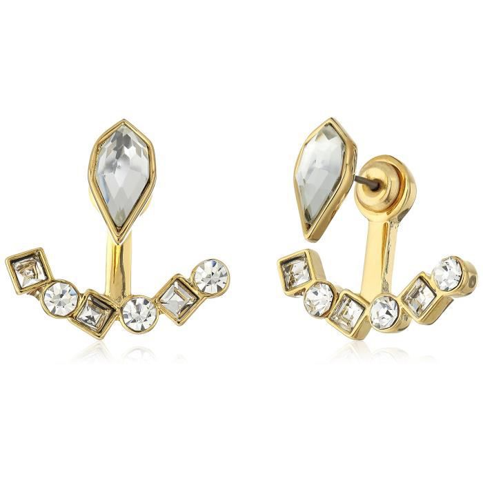 Rebecca Minkoff Gold With Crystal Stone Mix Earrings Jackets NK08T