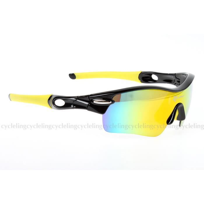 1bcebc3514cb60 RockBros Lunettes de Soleil Polarisées Sport Cyclisme Goggles Style Noir  Jaune