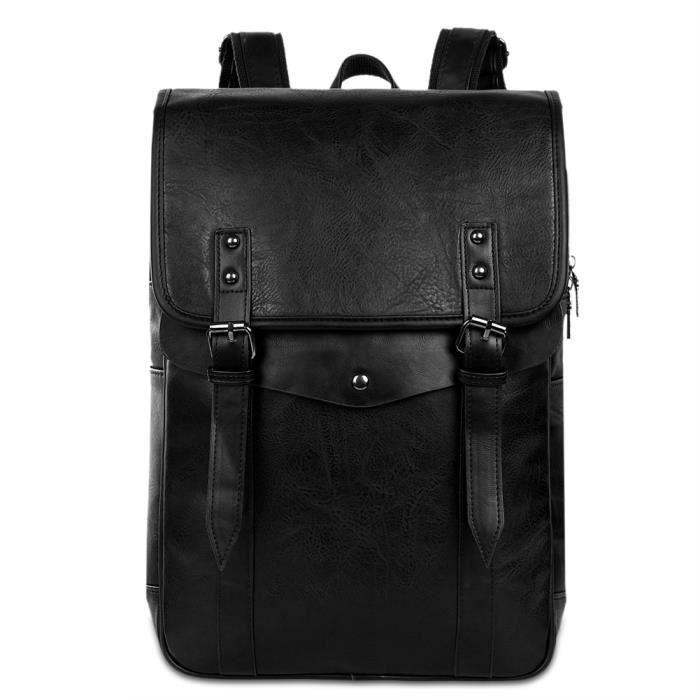 Vbiger Hommes Vintage PU Sac à dos en cuir Sac à dos pour ordinateur portable School Bookbag pour homme, noir