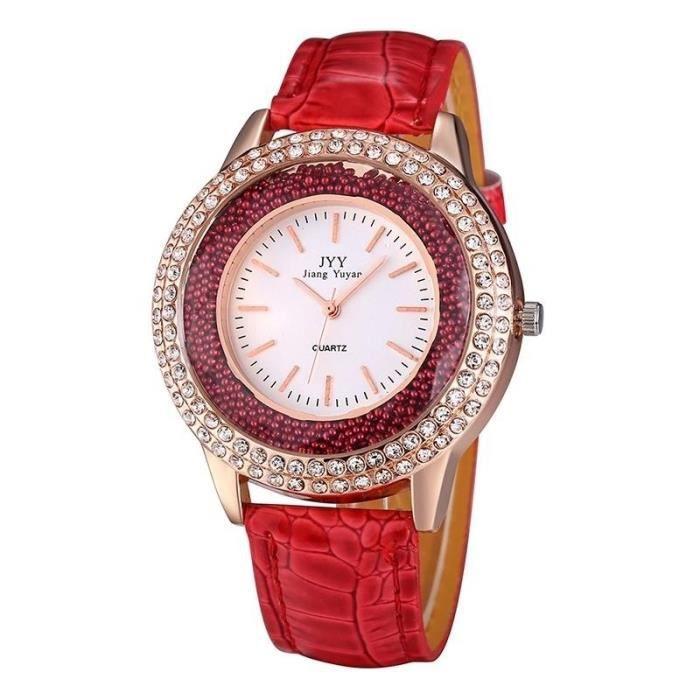 Montre en Cuir Découlant Perles Décoration Brillant Plein strass Cadran  Mode Femmes Quartz avec bracelet rouge 0bcd898acf6