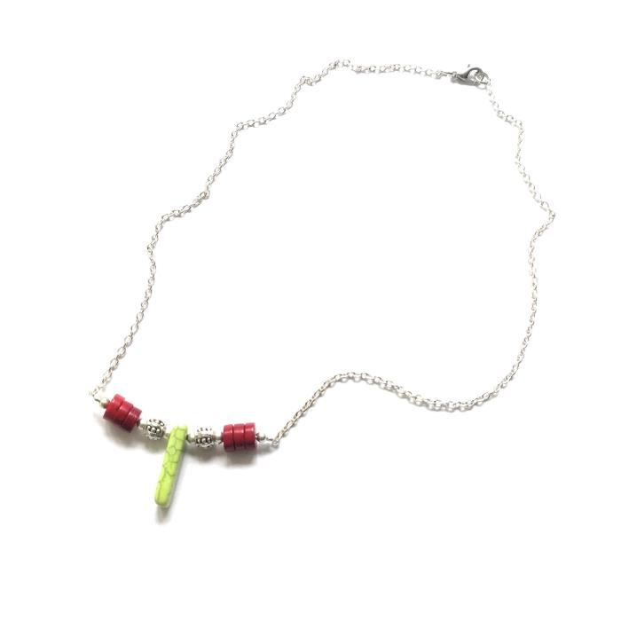 Womens Western Gemstone Chain Necklace Red Turquoise Green Magnesite Bar K308U