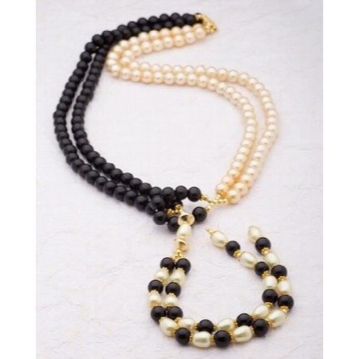 Womens Valentine Gifts: Fashion Brass With Yellow Gold Plated Pearl Beads Necklaces For , friendSFVL6