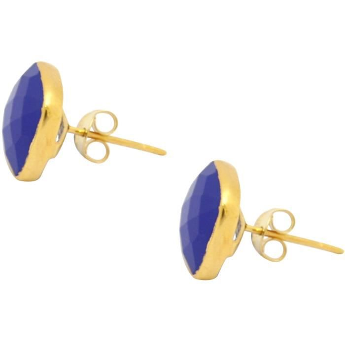 Gemshine - Dames - Boucles doreilles - Puces - Argent 925 plaqué or - Chalcédoine - facettes - Bleu - 13 mm