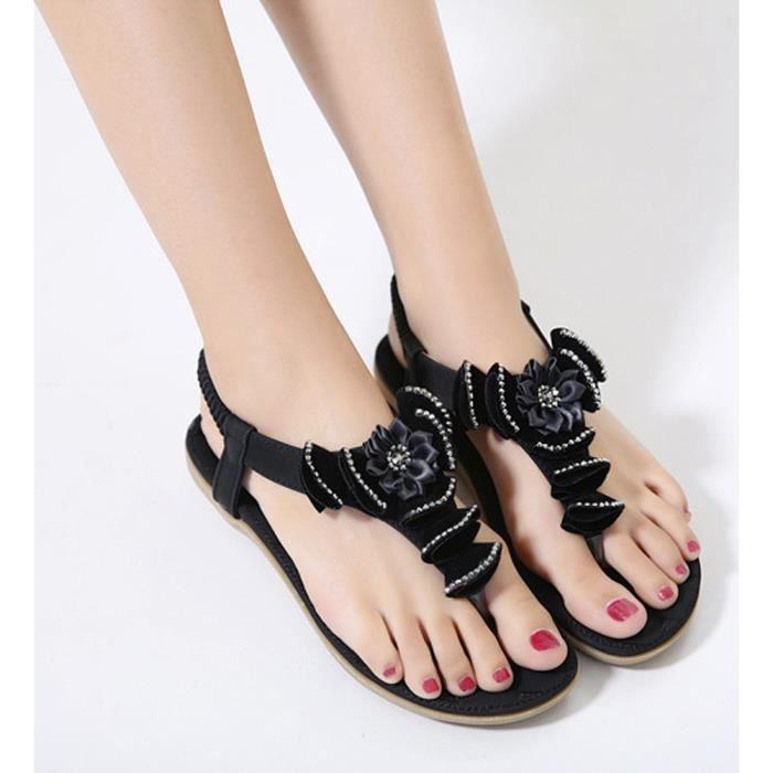 Tomwell Femmes Filles Été Plage Chaussures Bohemian Fleur Strass T Strap Sandales Plat Peep Toe Flip Flops wB3nG