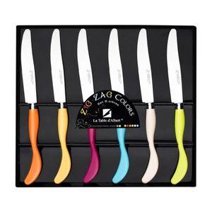 LA TABLE D'ALBERT Set de 6 couteaux Zigzag 24 cm orange, jaune, rose, bleu, beige et vert
