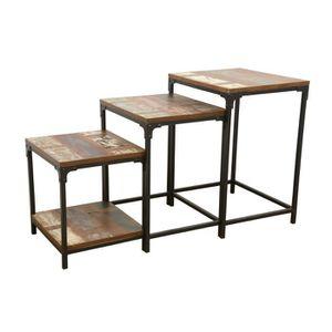 TABLE D'APPOINT Industriel - Set de 3 tables d'appoints Wolof - Re