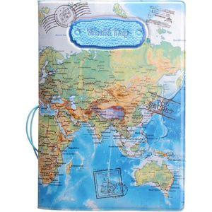 PORTE PAPIERS 14CM x 9.8CM Protège Passeport  Carte du Monde Ble