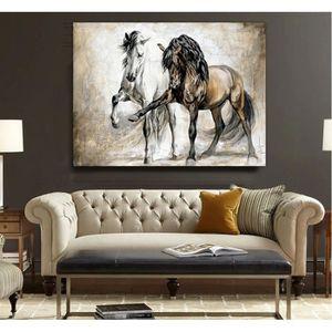 TABLEAU - TOILE Home Décor Peinture à l'huile Animal Cheval HD Imp
