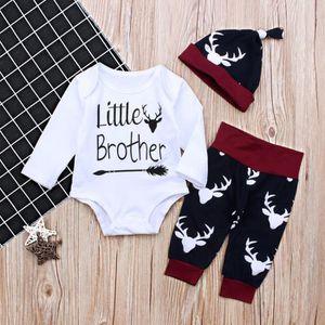 2ae3927ecbe40 Ensemble de vêtements 0-24 Mois Bébé Garçon Pyjama Renne Imprimé 3 PCS E