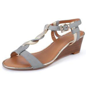 96a7b844b5 SANDALE - NU-PIEDS T-bar de femmes talon compensé confortables sandal ...