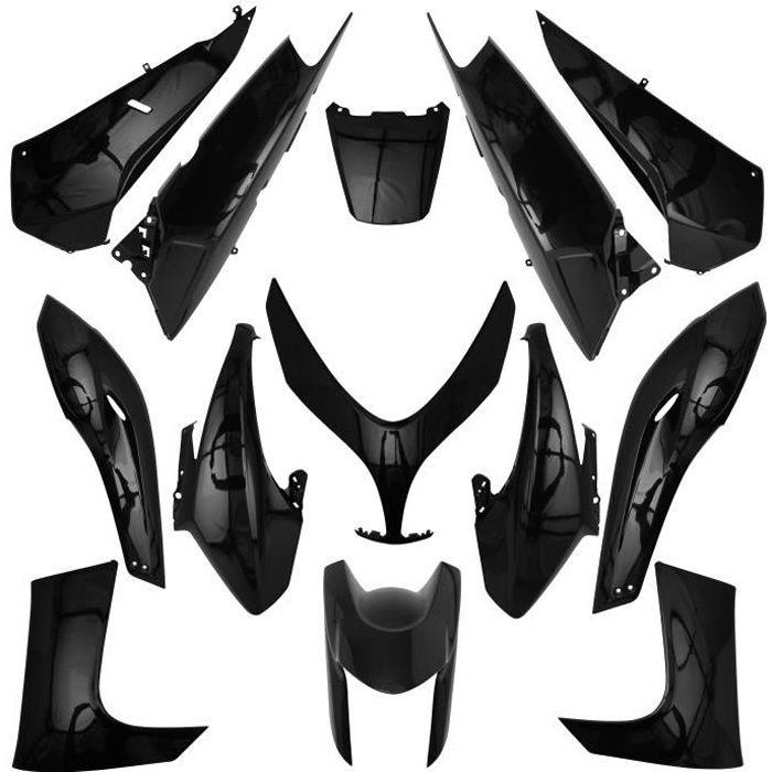 carrosserie/carenage maxiscooter adaptable yamaha 500 tmax 2008>2011 noir brillant (kit 13 pieces) -p2r-