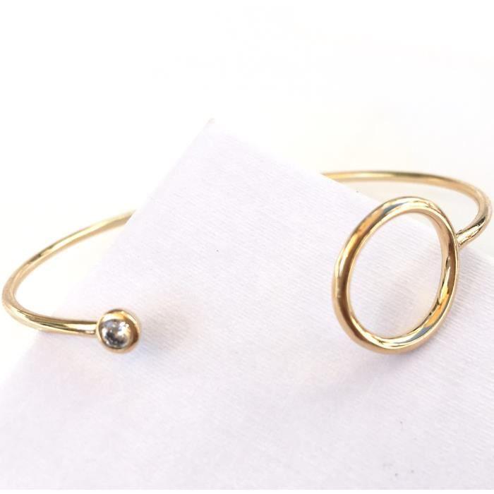 Bracelet jonc avec cercle plus pierre oxyde de zirconium ligne BULLE