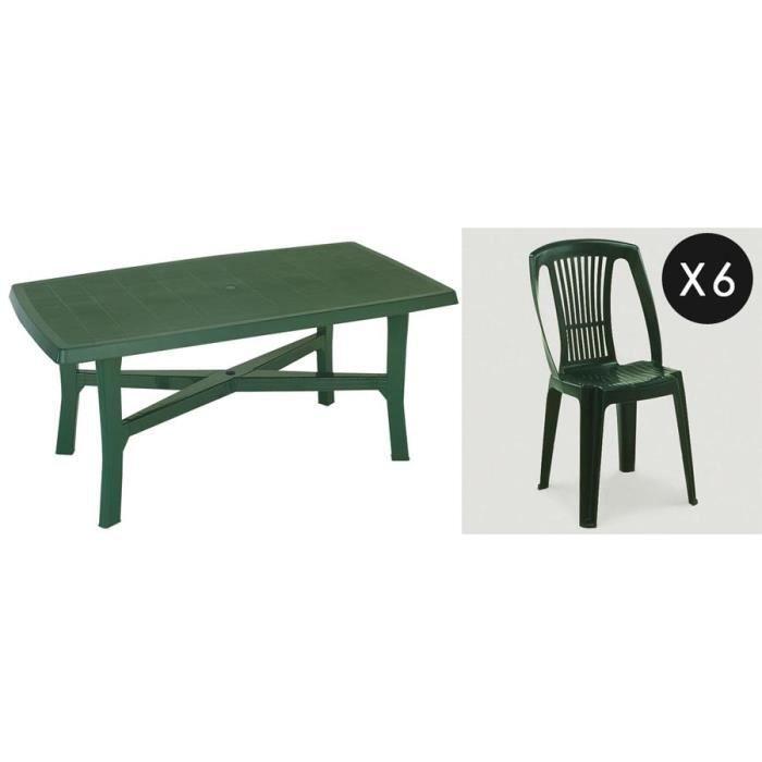 Ensemble : table 180 cm + 6 chaises plastique vert - Achat / Vente ...