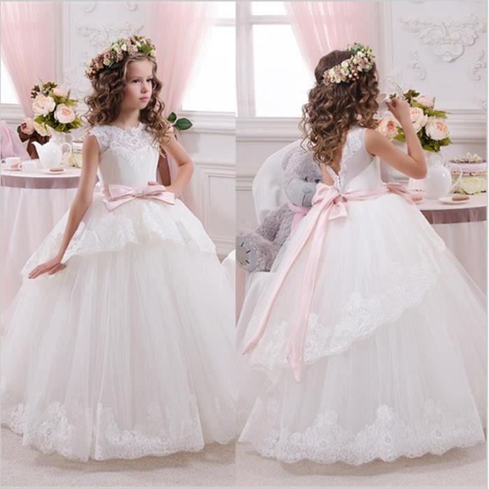 bdb33c660af5a Princesse robe de bal dentelle blanche fleur filles robes pour les mariages  pas cher Tulle ceinture arc noeud personnalisé robe de p