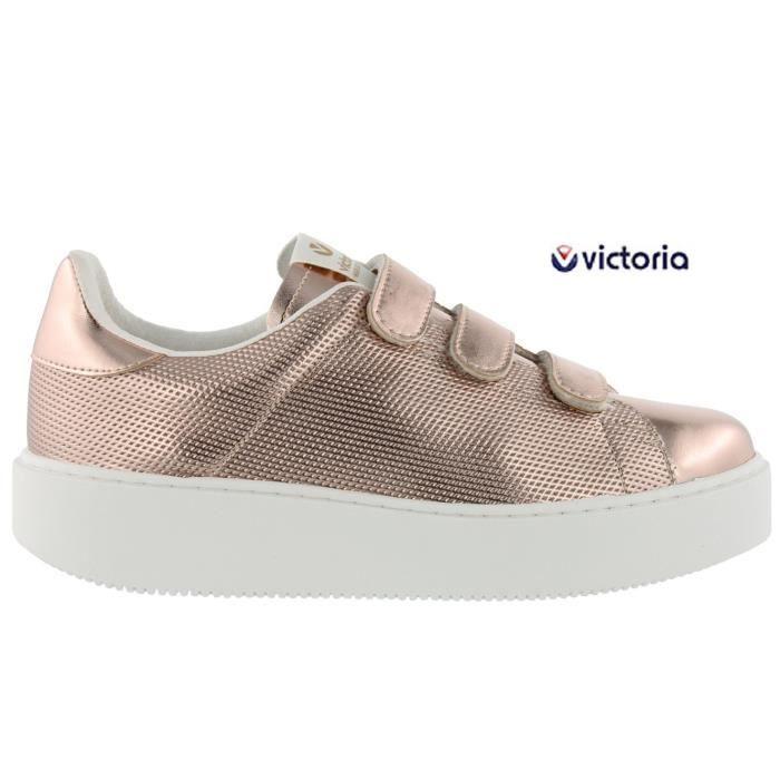69832330a44 Baskets Victoria velcro compensée rose femme 1260105 Rose Rose ...