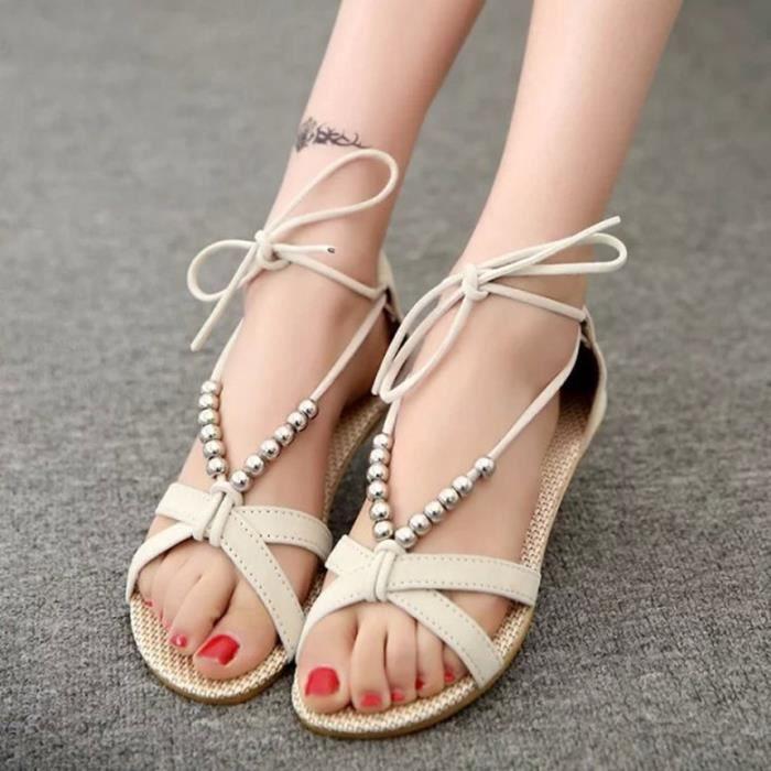 Sandales femmes Été nouvelle édition coréenne wedges en dentelle à perles romaines