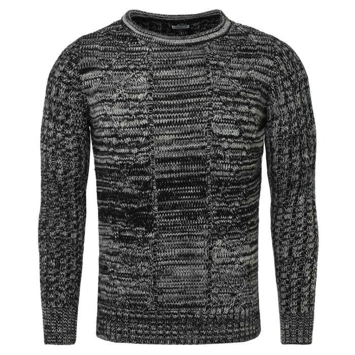 5f729b5850273 Pull fashion pour homme Pull 7488 noir mélangé Noir Noir - Achat ...