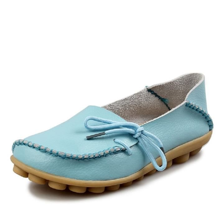 Comfortable Rubber Sole Leather Flats Slip On Loafer Shoes MHHRL Taille-40