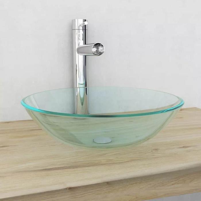 Verre trempé de lavabo 42 x 14 cm Transparent Vasque à Poser Vasque à trou  Lavabo pour robinet salle de bain