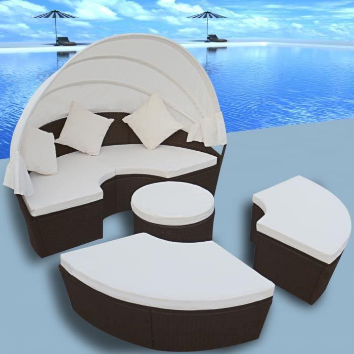 Salon de jardin meubles en rotin PE Avec auvent ou comme grand lit ...