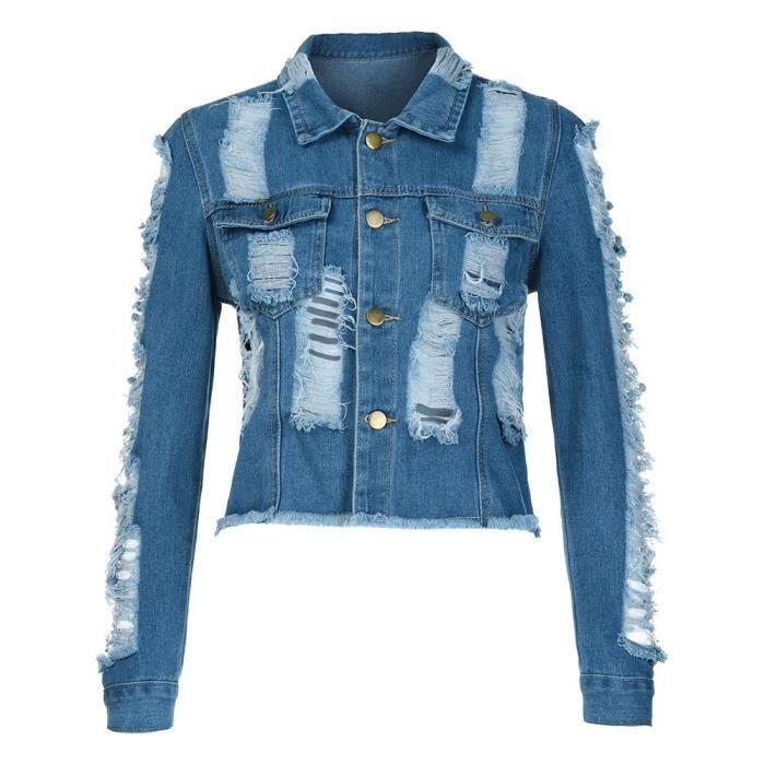 Manteau Trou Denim Court Casual Veste Jean Bleu Femme Outwear Pardessus Dame Fille pwqAx7FTC