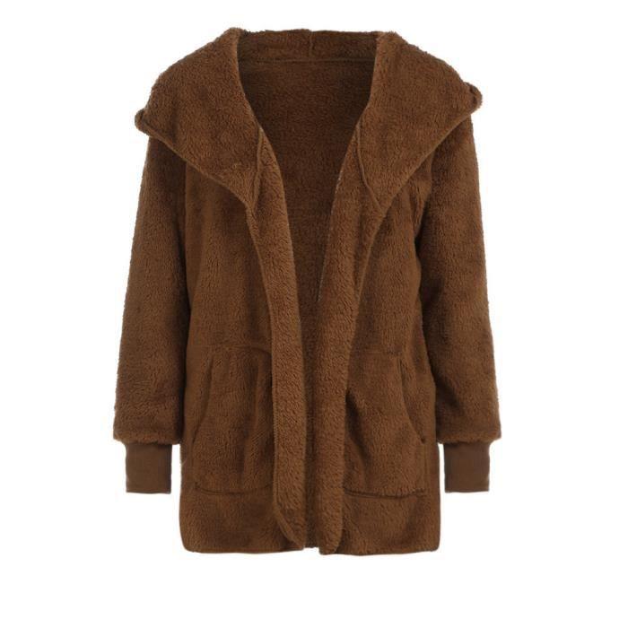 Coierbr Bouton à col roulé à manches longues épais manteau
