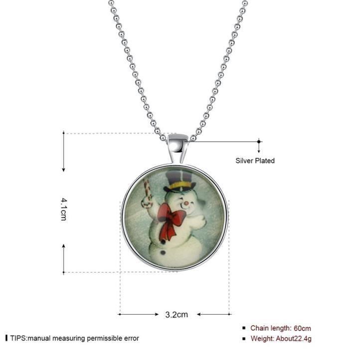 Collier lueur cadeau de Noël dans largent pendentif noir et alliage chaîne bijoux vintage