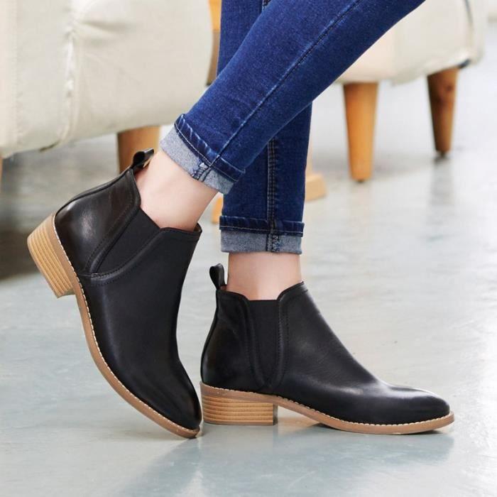 chaussures de mode nouvelles dames bottes locomotive britannique Martin chaussures bottes imperméables,marron,36
