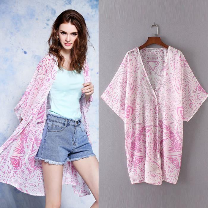 Imprimer Deuxsuns®femmes Cardigan Soie Recouvrir Kimono zf673 En De Mousseline Chemisier Châle Haut Vrac wFrIpFq