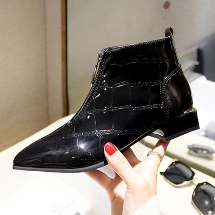 Zipper Solide Martin Chaussures Femmes modehall7391 Bottes Pais Mode Rond Bout Cuir E1qqt4