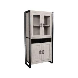 PETIT MEUBLE RANGEMENT  Meuble cabinet industriel en bois de manguier et a