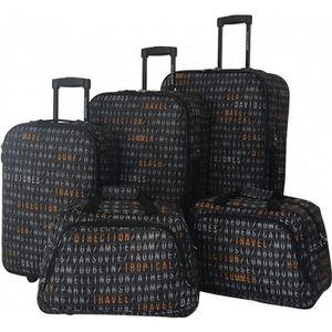 SET DE VALISES Lot de 5 bagages Souples David Jones AFFICHAGE AER