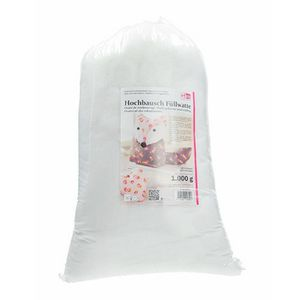 OUATE Ouate de rembourrage blanche en synthétique, 1 kg,