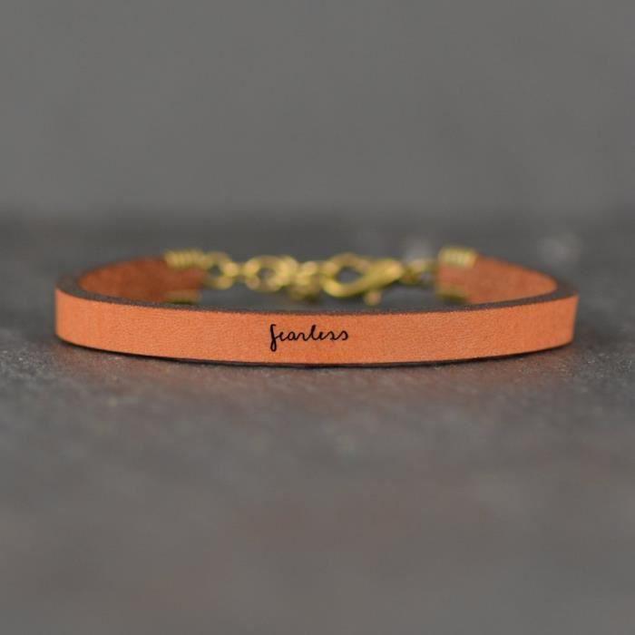 Sans Peur Brown Bracelet Citation en cuir pour femmes   Laurel Denise T6Z1G