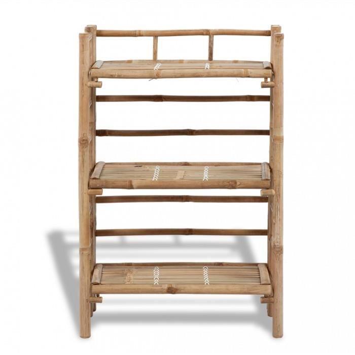 supports pour plantes etagere a plantes en bambou a 3 tablettes achat vente meuble tag re. Black Bedroom Furniture Sets. Home Design Ideas