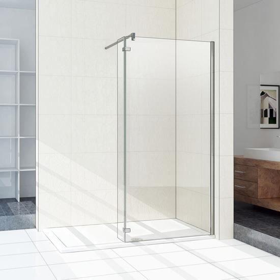 paroi de douche fixe largeur 120cm avec retour pivotant 40cm taille totale 160x200cm 8mm verre. Black Bedroom Furniture Sets. Home Design Ideas