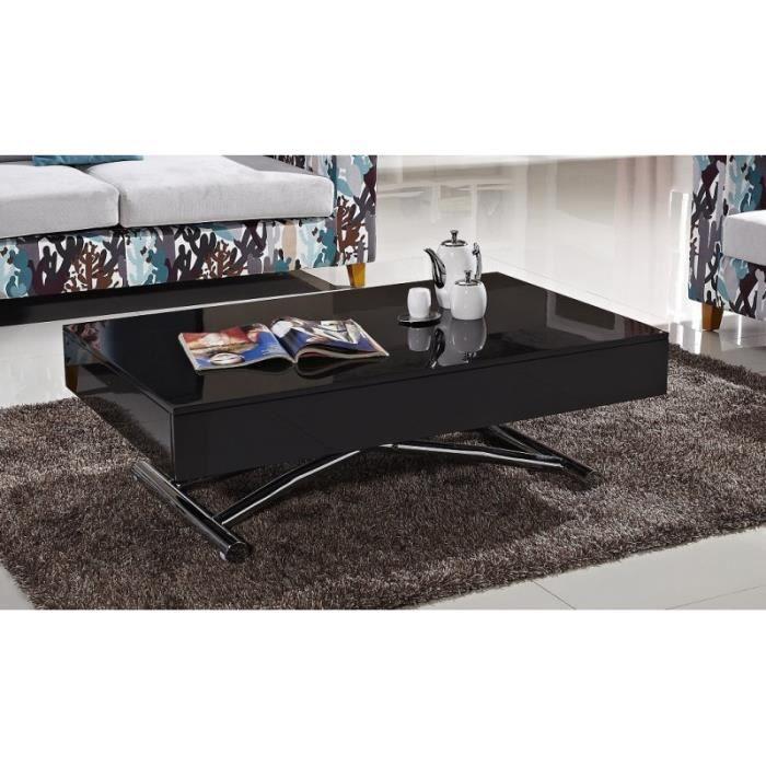TABLE BASSE Table basse relevable CUBE noire brillante, ext…