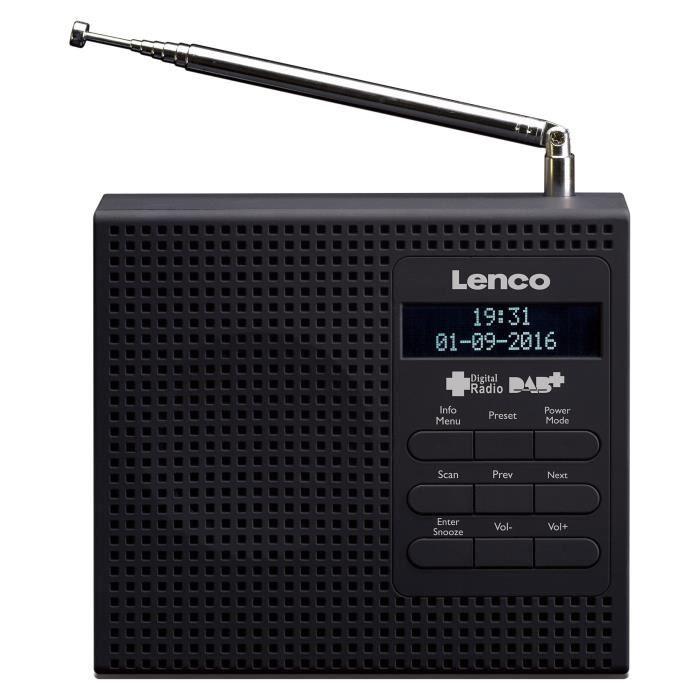 Lenco Pdr De 19bk Dab -radio Fm Avec Écran Lcd, 2réglages Réveil, Fonction Snooze, Mise En Veille Programmable Et Antenne Té