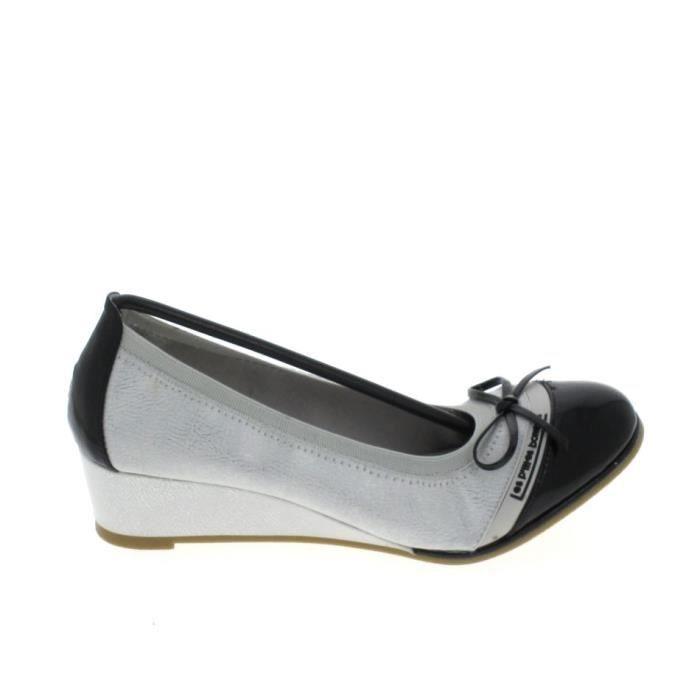 Chaussure De Ville Lpb Ballerine Compensee Coquelicot Argent Noir -