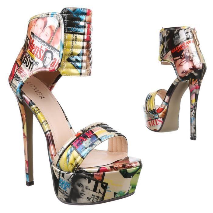 Chaussures femmes sandales Talon haut Plateau Escarpins